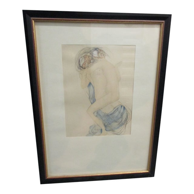 Vintage Framed Rodin Watercolor Print From Rodin Museum in Paris For Sale