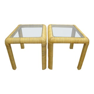 1970's Vintage Rattan Wrapped End Tables- A Pair For Sale