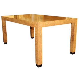 Milo Baughman 1970s Mid-Century Modern Burl Wood Parsons Dining Table For Sale