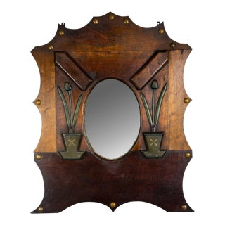 Arts & Crafts Wood Shield Tulip Motif Wall Mirror For Sale