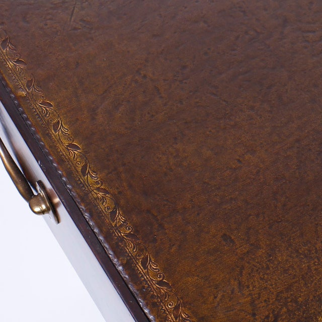 Leather 19th Century English Campaign Style Desk with a Faux Tortoise Shell Finish For Sale - Image 7 of 11