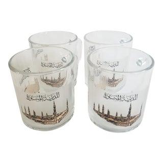 Mecca Motif Glass Tea Cups For Sale