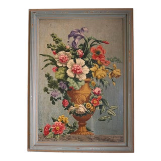 Oil on Board Painting of Still Life with Flowers in Urn For Sale