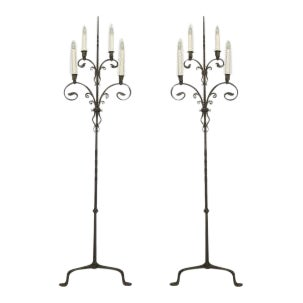 Pair of American Victorian (1910) wrought iron 4 light candlestands For Sale