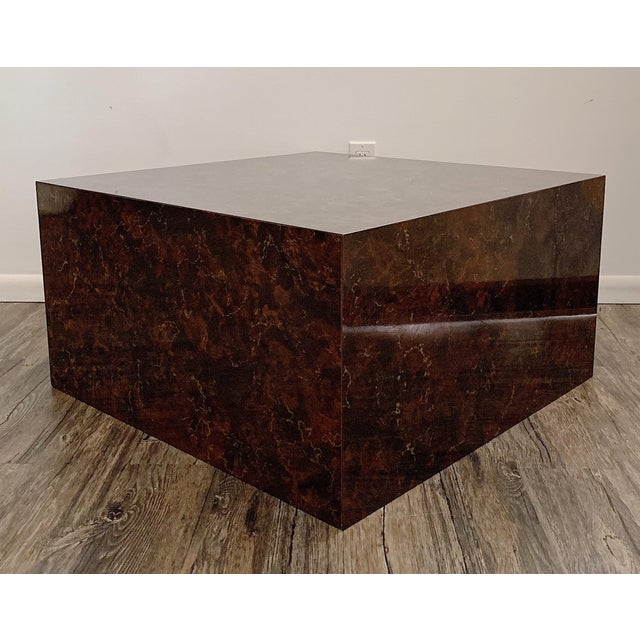 Mid-Century Modern 1970s Mid-Century Modern Faux Stone Cube Coffee Table For Sale - Image 3 of 6