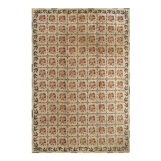 Vintage American Hooked Rug With All-Over Checkered Pattern of Floral Bouquets For Sale