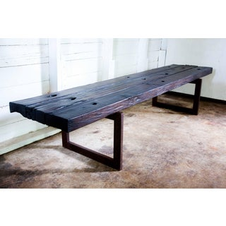 Contemporary Handmade Yakisugi Organic Wood Metal Bench Daybed Coffee Table Preview