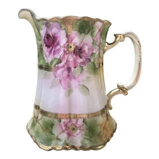 Late 19th Century Large Victorian Moriage Gilt Floral Porcelain Pitcher For Sale