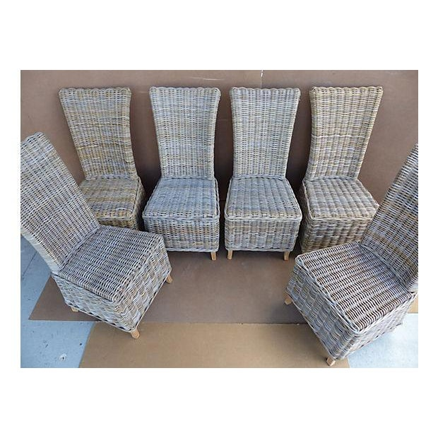 Rattan Wicker High Back Dining Chairs - Set of 6 For Sale - Image 4 of 11