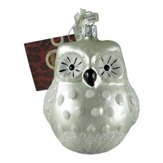 Neiman Marcus Blown Glass Snow Owl Christmas Ornament For Sale