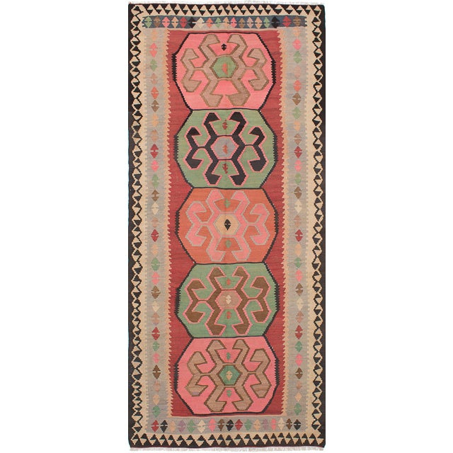 "Boho Chic Vintage Persian Boho Kashkuli Green Pink Kilim Rug - 5'2"" x 6'4"" For Sale - Image 3 of 3"