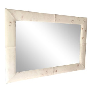 Early 20th Century Beveled Mirror Framed With Cowhide For Sale