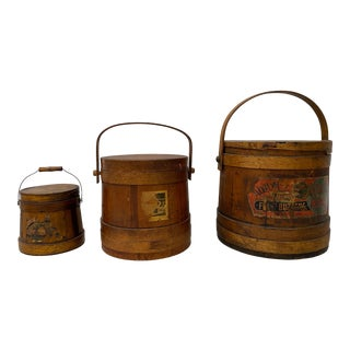 """Set of Three Late 19th Century """"Jellies & Preserves"""" Wooden Firkins / Buckets For Sale"""