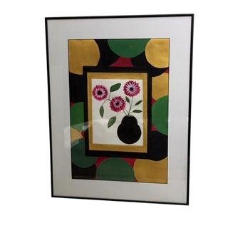 "Modern Tempura Floral Still Life Signed ""Bonita"" For Sale"