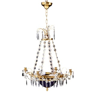 1900's Gustavian Empire Style Blue Bowl Chandelier For Sale
