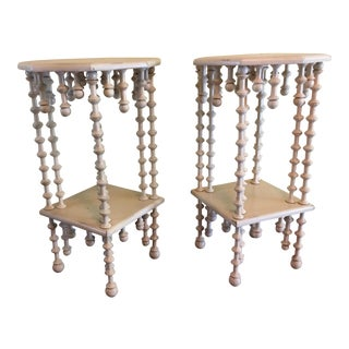 Distressed Off-White Wood Teardrop Side Tables - A Pair