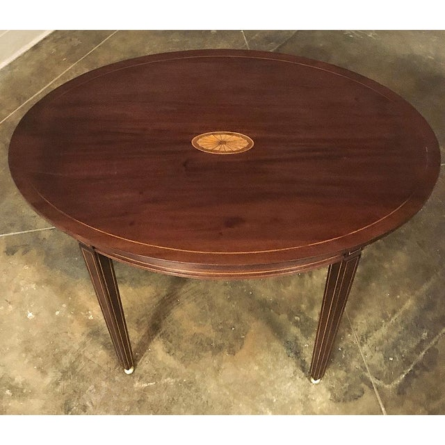 Antique French Mahogany Directoire Inlaid End Table For Sale - Image 4 of 10