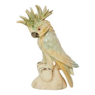 1940's Vintage Alabaster Pastel Colored Carved Cockatoo Statue For Sale