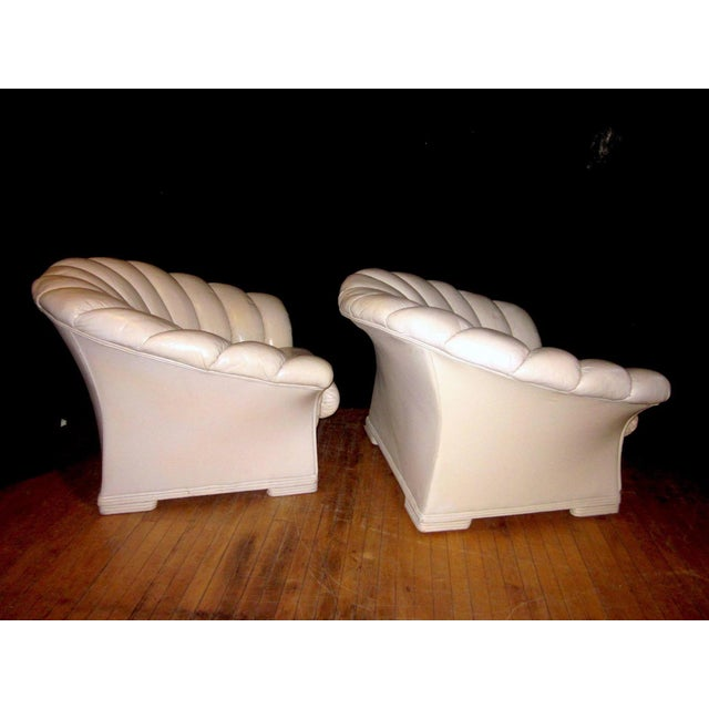 Art Deco 1930s Vintage French Art Deco Scalloped Back Clamshell Leather Lounge Chair- a Pair For Sale - Image 3 of 11