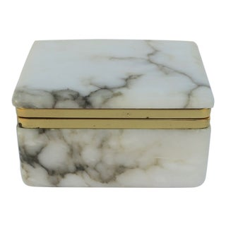 Italian White Marble Box For Sale