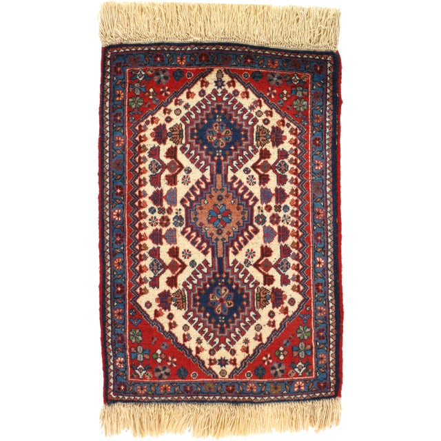 """Hand-Knotted Persian Tribal Rug - 1'10"""" X 2'11"""" - Image 1 of 4"""