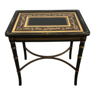 Vintage Faux Bamboo Black Asian Chinoiserie Side Accent Table For Sale