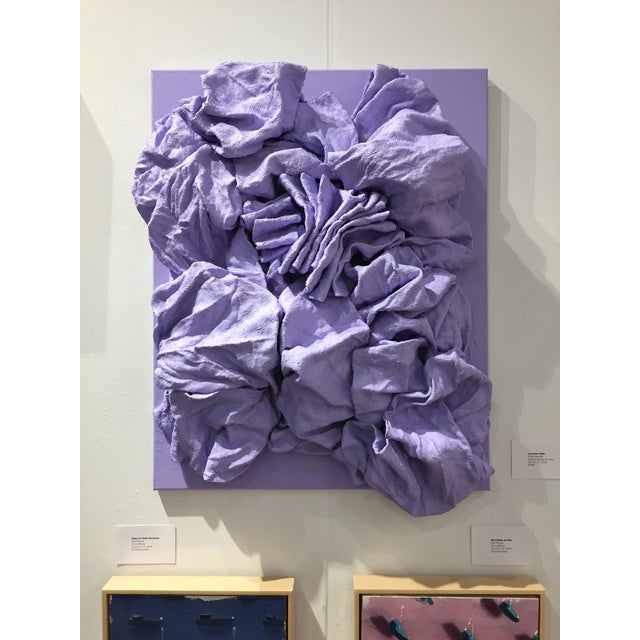 """""""Lavender Folds"""" is a light lavender colored wall sculpture made with painted burlap on linen. The elegant folds are..."""