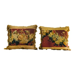18th C. French Tapestry Custom Made Tapestry Pillows - A Pair For Sale
