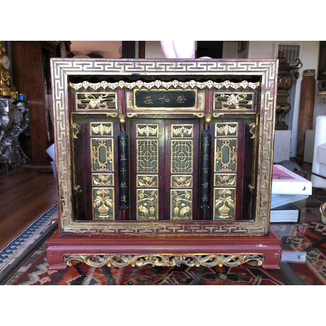 Antique Chinese Qing Era Elaborately Carved Home/Family Shrine For Sale - Image 10 of 10