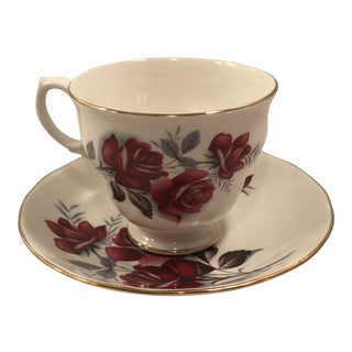 Mid 1800s Queen Anne Red Rose Tea Cup and Saucer For Sale