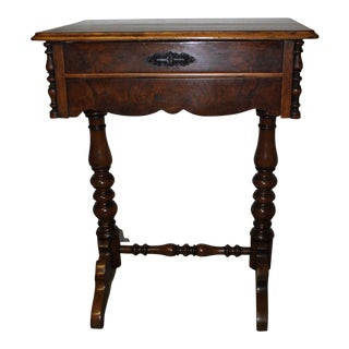 Victorian Walnut Sewing Table For Sale
