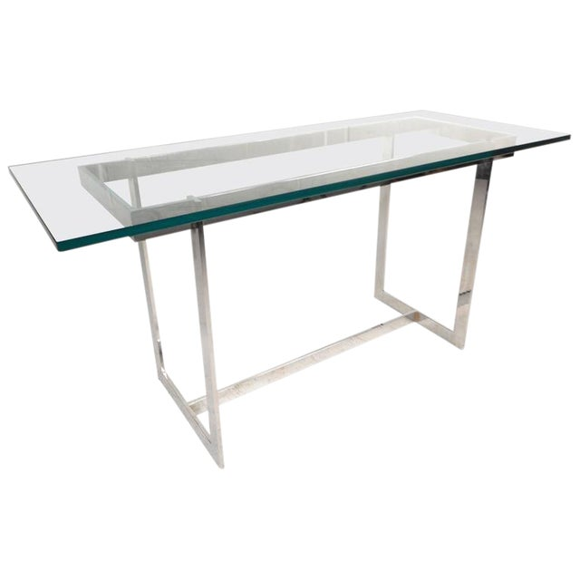 Milo Baughman Style Mid-Century Glass & Chrome Console Table - Image 1 of 6