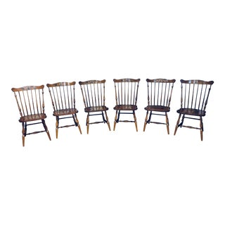 Mid 20th Century Hitchcock Maple Windsor Dining Chairs - Set of 6 For Sale