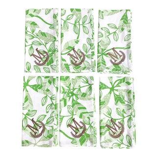 "Set of 6 ""m"" Monogrammed Fabric Dinner Napkins in Green & White Botanical"