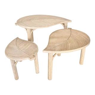 Vintage Rattan Leaf Nesting Tables- Set of 3 For Sale