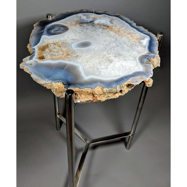 Organic Modern Natural Agate Slice Accent Table For Sale - Image 12 of 12