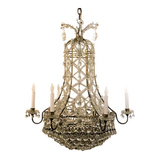 Antique French Original Napoleon III Chandelier With Baccarat Crystal Polished Prisms, Circa 1880