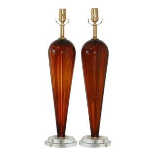 Vintage Italian Glass Teardrop Table Lamps For Sale