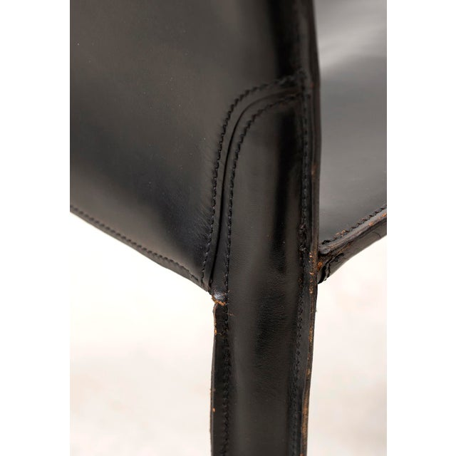 Black Set of 10 Cab Chairs by Mario Bellini--6 Arm, 4 Side--In Black Leather, 1970s For Sale - Image 8 of 13