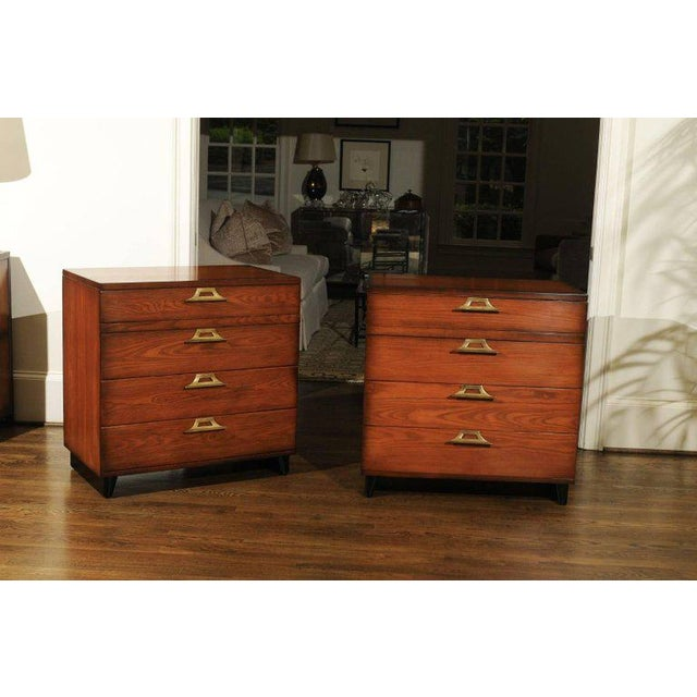 Ficks Reed Rare Restored Pair of Commodes by John Wisner for Ficks Reed, Circa 1954 For Sale - Image 4 of 11