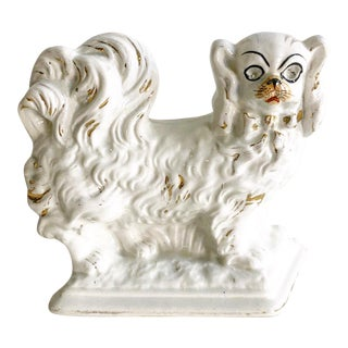 Antique Single Staffordshire Dog White With Gold Accents For Sale
