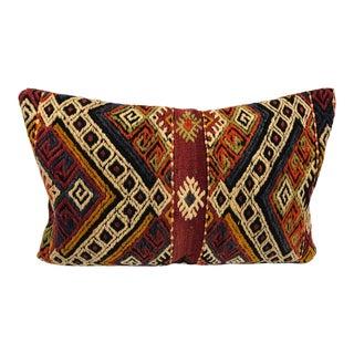Authentic Turkish Anatolian Vintage Handmade Wool Kilim Lumbar Pillow For Sale