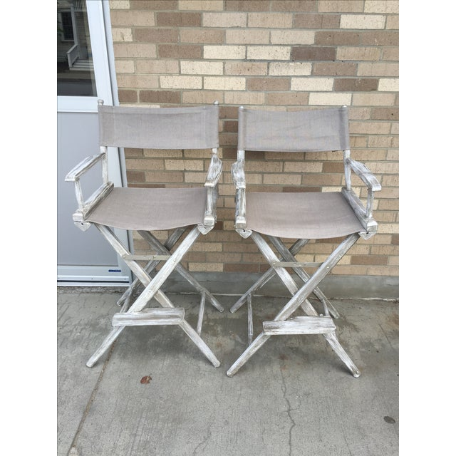 Whitewash Director's Chairs - A Pair - Image 2 of 6
