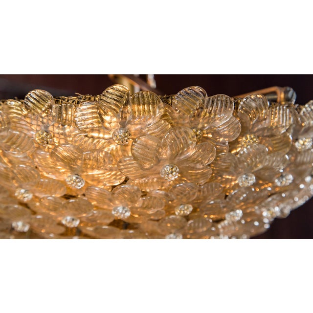 Transparent Italian Barovier & Toso Murano Glass Surface Mount Ceiling Chandelier/Light For Sale - Image 8 of 11
