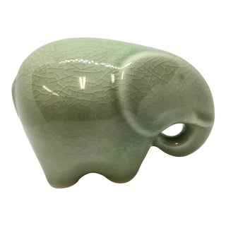 Vintage Celadon Ceramic Elephant Statue For Sale