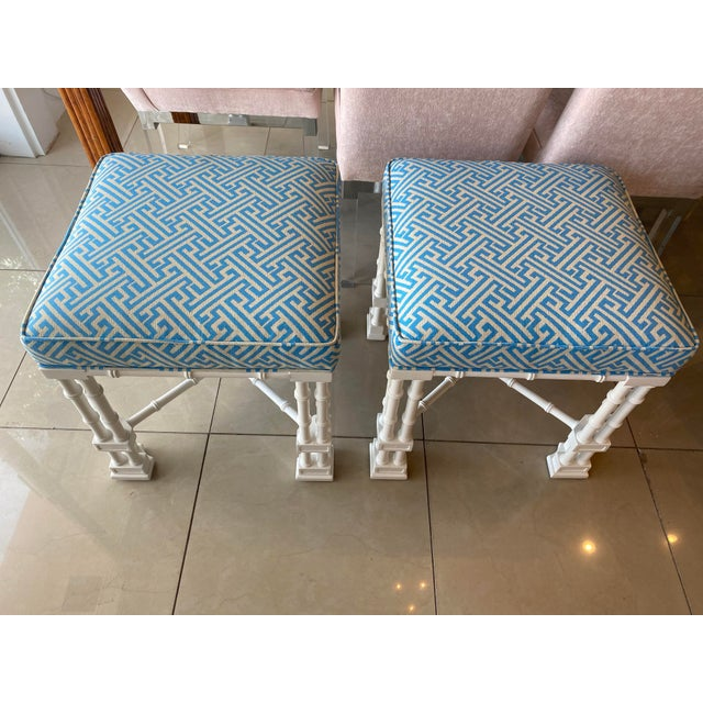 Beautiful vintage pair of faux bamboo benches, stools. These have been professionally lacquered in a soft white. All new...