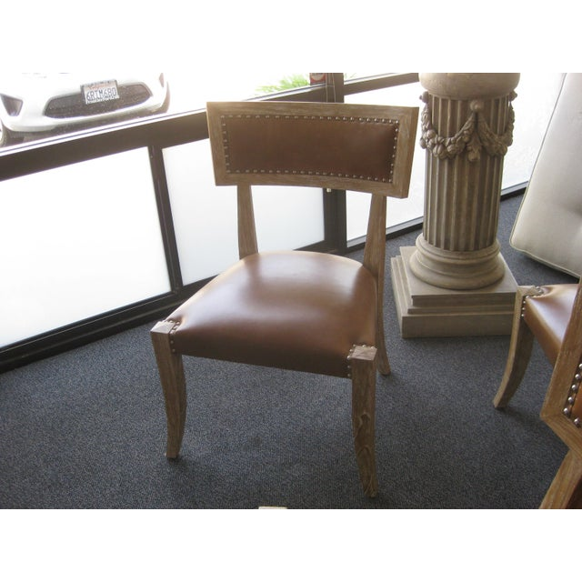 Klismos Style Chairs With Leather Seats - Set of 4 - Image 8 of 9