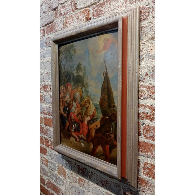 """16th/17th Century Old Master """"Wounded Warrior"""" Oil Painting For Sale - Image 9 of 11"""