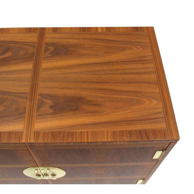 Early 20th Century Baker Mid-Century Modern Long Walnut Dresser Brass Hardware Pulls For Sale - Image 5 of 8