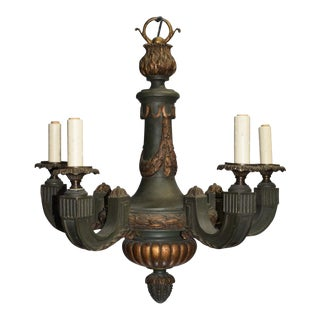 Antique chandelier, gilt and painted wood For Sale